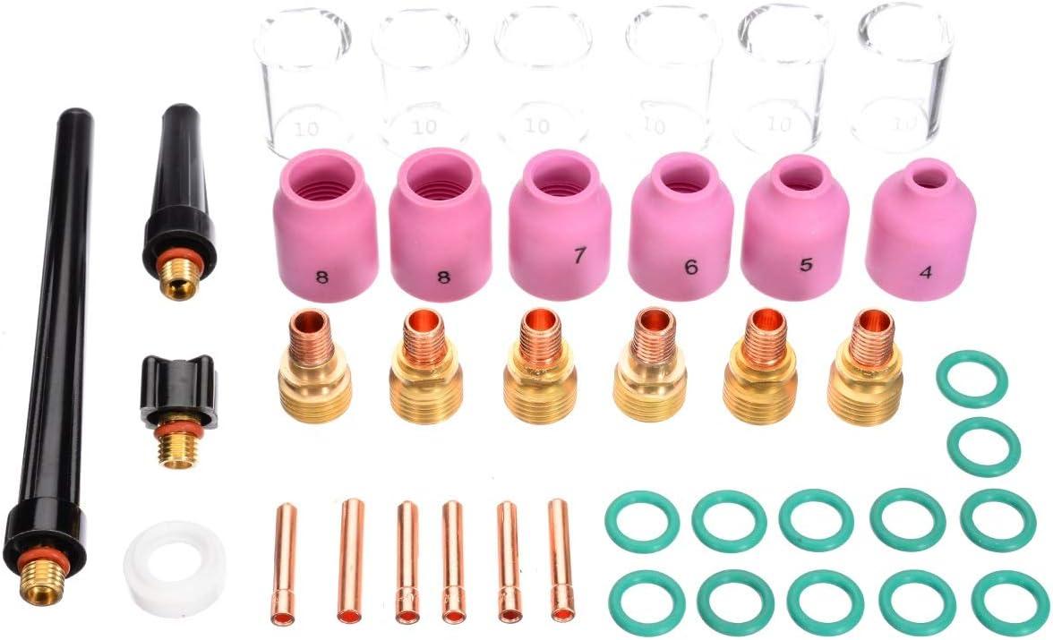 Mini Antorcha Soldadura 40pcs lot TIG Kit de soldadura Torch Torch Collet Gas Lens TAP de vidrio Pyrex Accesorios pr/ácticos de soldadura para WP-9//20//25