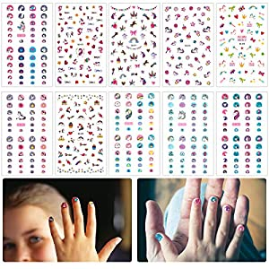 Madholly 10 sheets Self Adhesive Unicorn Nail Art Stickers Decals Manicure Decoration for Little Girls for Fingernails Toenails Nail Tips