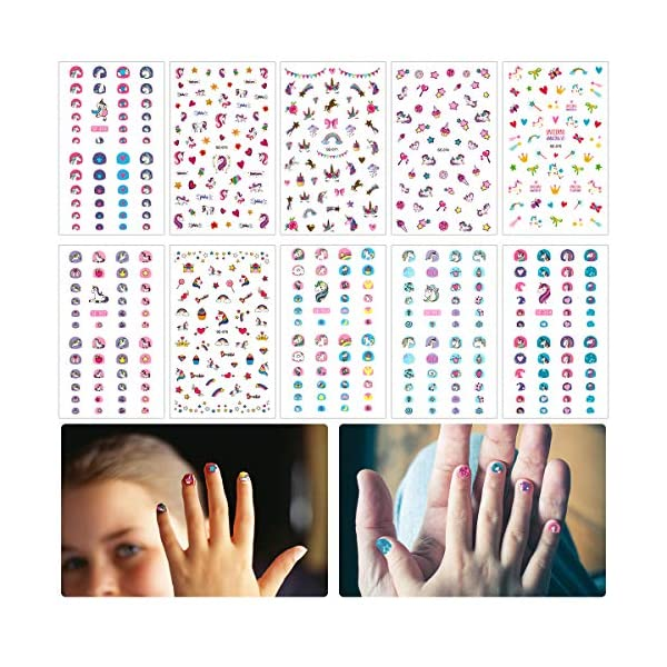 Madholly 10 Sheets Self Adhesive Unicorn Nail Art Stickers Decals Manicure Decoration for Little Girls for Fingernails… 3
