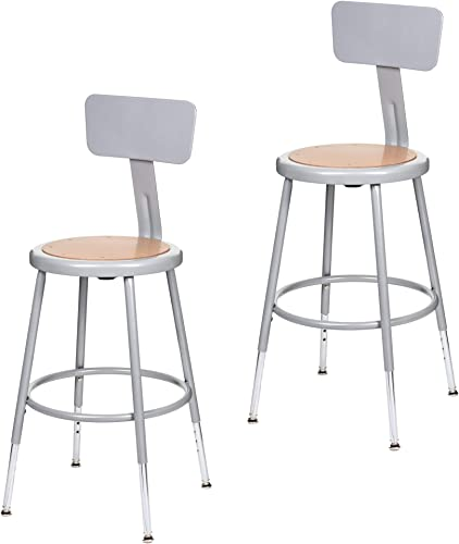 2 Pack OEF Furnishings Height Adjustable Grey Shop Stool With Backrest, 18-27 High HBRSHB18GY2PK