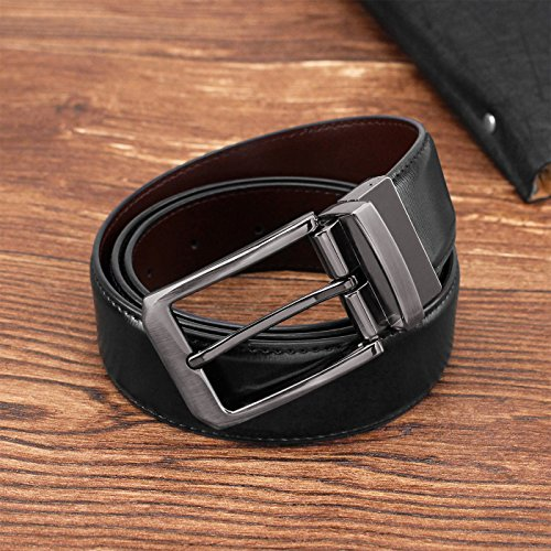 Men's Genuine Leather Dress Belt Reversible with Single Prong Rotated Buckle Gift Box by HIPPIH (Image #2)