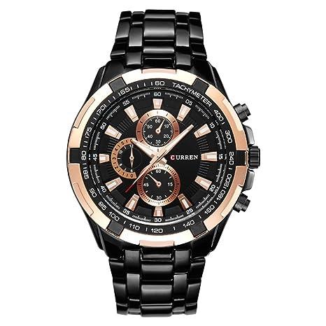 QSXF Reloj de Cuarzo para Hombre, Correa de Acero Inoxidable, Esfera Grande, 43