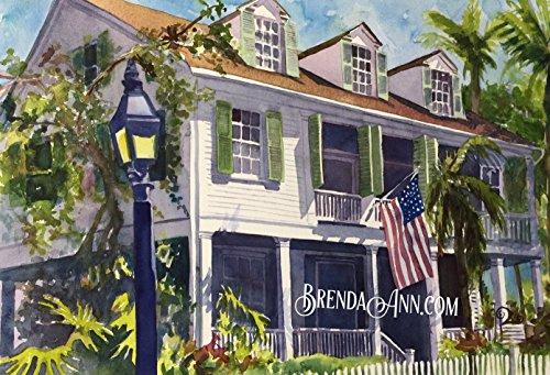 Audubon House Key West - Fine Art Wall Art Artwork Watercolor Art Print by Brenda Ann