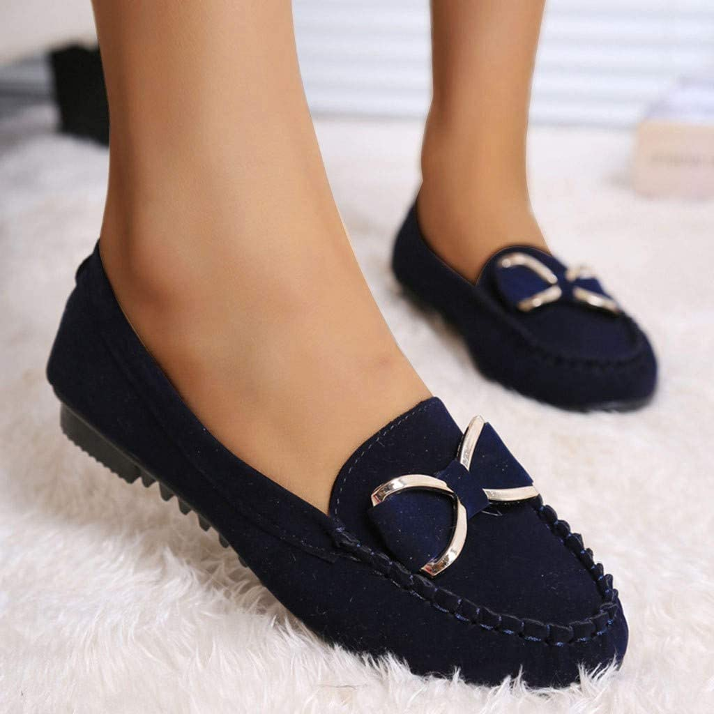 Jamicy /™ Women Non-Slip Solid Colors Flat Bow Knot Lazy Shallow Mouth Casual Slip On Shoes Peas Shoes Soft Sole Work Shoes