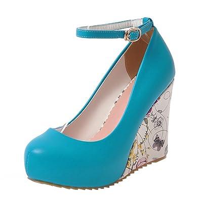 Agodor Damen Keilabsatz Plateau Riemchen Pumps mit Schnalle und Blumen High Heels Moderne Schuhe