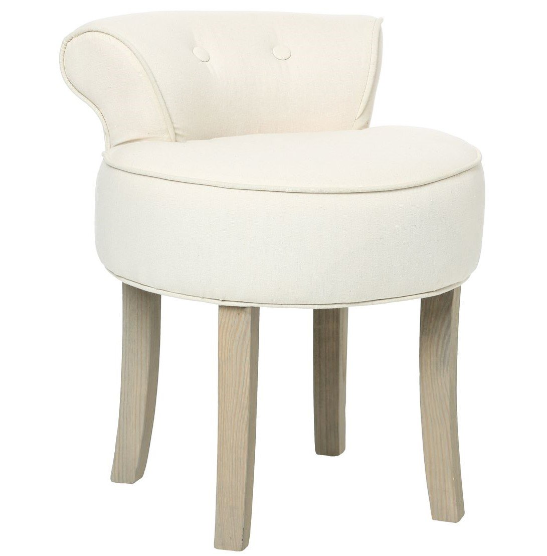 ATMOSPHERA Hocker mit Lehne - Leinen - Beige