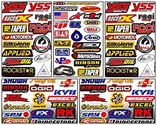 Motocross Dirt Bike Helmet Racing Tuning Decal Kit Sticker 5 Sheets #Db-505