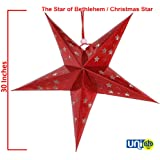 Selling Uniqness UNIq Prismatic Optical Reflective Robust Card Paper Star Lantern Hanging Christmas LED Light (30 Inches, Red)