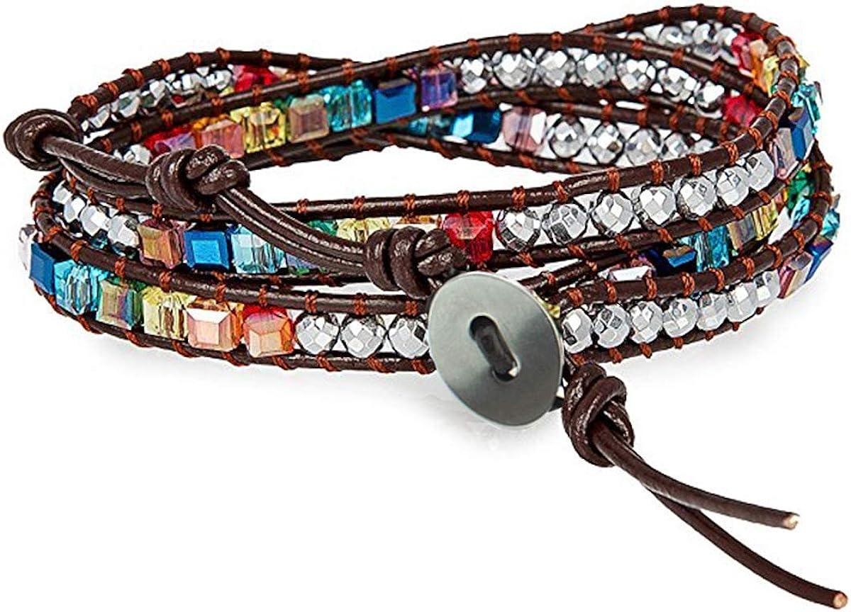 Pulsera de piedras preciosas de cristal multicapa para mujer de Fashion Jewelry, brazalete de nudo tejido a mano, cuerda de cuero y accesorios de envoltura de cuentas