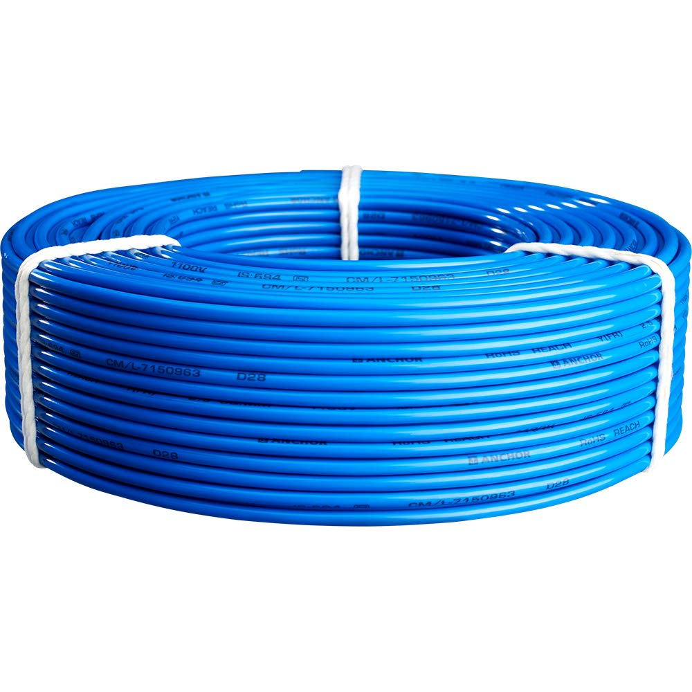 Anchor Copper Insulated PVC Cable 1.0 Sq mm Wire (Blue) on electric tape, junction box, power cord, extension cord, electric coil, electric scales, electric power transmission, electric gas, electric paper, electric cap, knob and tube wiring, distribution board, national electrical code, alternating current, three-phase electric power, electric fuses, electrical engineering, earthing system, electrical conduit, electric ring, ground and neutral, electric motor, circuit breaker, power cable, electric cord, wiring diagram, electric glass, electric terminals,