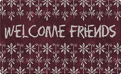 "Toland Home Garden 830336 Chalk Flowers Welcome- Maroon 18"" x 30""  Recycled Mat, USA Produced ()"
