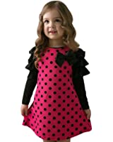 kaifongfu Toddler Dress, Kids Baby Girls Dot Bow Princess Dress Sundress Outfits Clothes