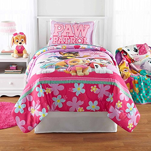 Sweet, Pretty Adorable Versatile Durable Machine Washable PINK And Purple Paw Patrol Girl Best Pup Pals Bed in Bag Bedding Set, FULL - Perfect As A Gift!