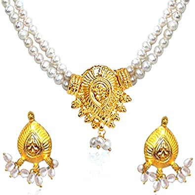 babfc9ddff Buy Surat Diamonds Two Line Real Freshwater Pearl & Gold Plated Necklace &  Earring Set for Women (SP377) Online at Low Prices in India | Amazon  Jewellery ...
