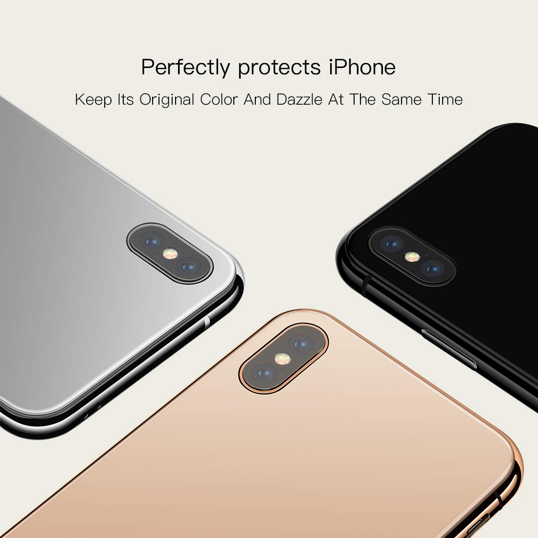 JOYROOM Tempered Glass Case for iPhone Xs Max, Hard Slim Thin Metal Bumper with Soft TPU Inner Frame Case, Anti-Scratch 9H Clear Glass Back Cover for iPhone 6.5 inch (Gold)