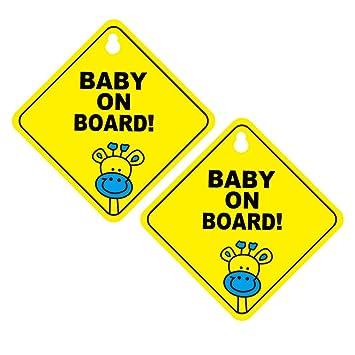 Nuobesty Baby An Bord Zeichen 2er Pack Abnehmbare Saugnapf Auto Zeichen Baby Sicherheit Warnung Sauger Aufkleber Baby