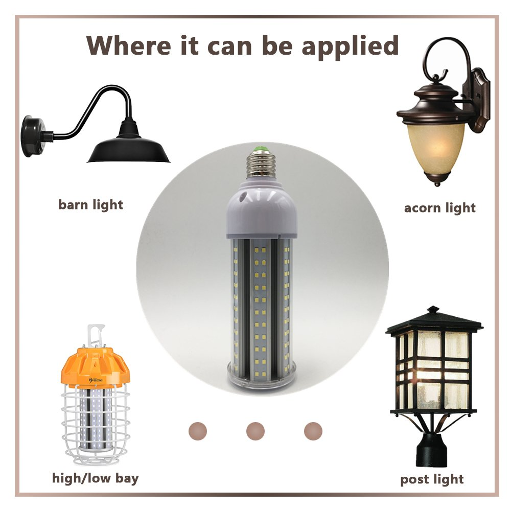 LightingWill 25W LED Corn Light for Outdoor and Indoor Large Areas Garage Basement Post Lamp Use Daylight White 6500K 2400LM 150 Watt Equivalent Replacement Bulb E26 Standard Sockets