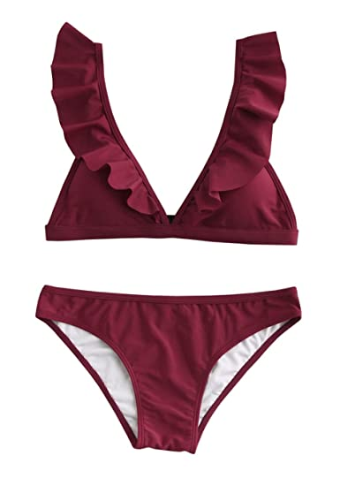 befa3c46f8d66 Amazon.com  Karlywindow Womens Triangle Bikini Sets Falbala Padded Top Wide  Band Chic Swimsuit Beach Swimwear  Clothing