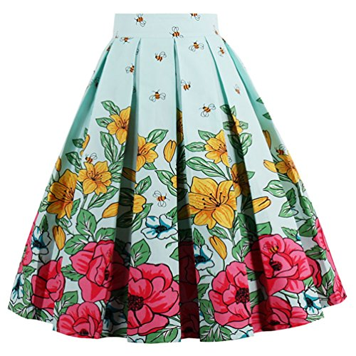 Dressever Women's Vintage A-line Printed Pleated Flared Midi Skirts Flower Bee 3X-Large