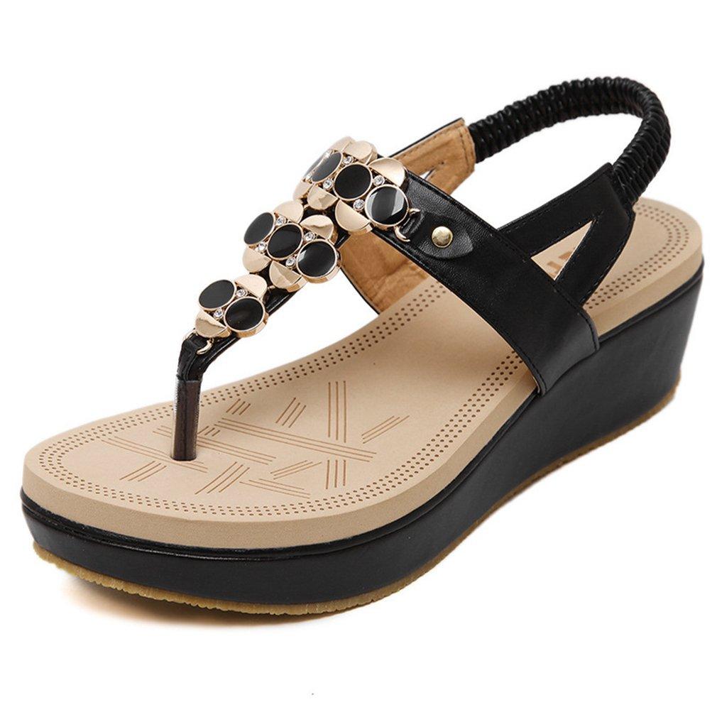 AVENBER Womens Wedges Sandals Bohemian Beaded Mid Heels Clip Toe Platform Rhinestone Non-Skid Shoes B07CL5M7BV 8 B(M) US|Black