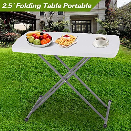 Folding Table Portable Plastic Adjustable Folding Picnic Table Indoor Outdoor Party Dining Camp Tables (30.5″ L X 19.7″ W X 19.5-29″ H) For Sale