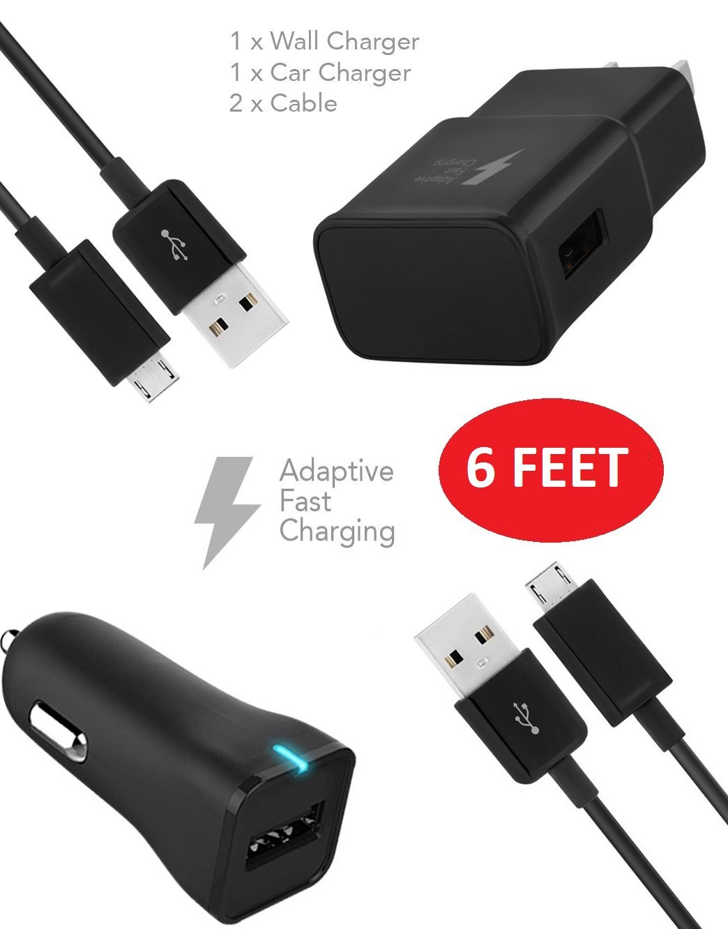 BlackBerry Leap Charger (6 FEET) Micro USB 2.0 Cable Kit by TruWire - {Wall Charger + Car Charger + 2 Cable} True Digital Adaptive Fast Charging uses dual voltages for up to 50% faster charging!