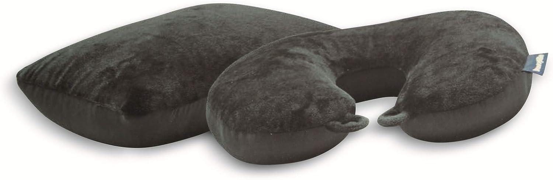 Dunlopillo Almohada de viaje 2 en 1 y almohada cervical 31 x 21 cm – Almohada cervical para el avión y para viajes – Almohada ergonómica con microperlas