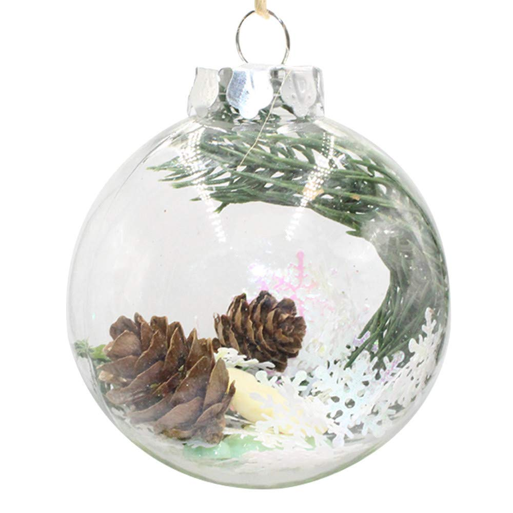 Hide on bush Snowman Hanging Ball Christmas Shatterproof 3.15-Inch Tree Ball Cardinal and Poinsettia Woodland Theme for Xmas Trees, Parties, and Holiday Decoration (10 cm)