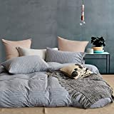 TheFit Paisley Textile Bedding for Adult U640 Grey Beauti Long Striped Duvet Cover Set 100% Knited Cotton, Twin Queen King Set, 3-4 Pieces (Twin)