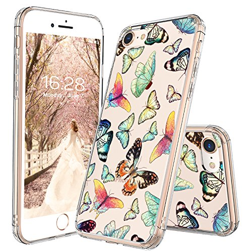 - MOSNOVO iPhone 8 Case, iPhone 7 Case, Fashion Butterfly Pattern Clear Design Transparent Plastic Hard Back Case with TPU Bumper Protective Case Cover for iPhone 7 / iPhone 8