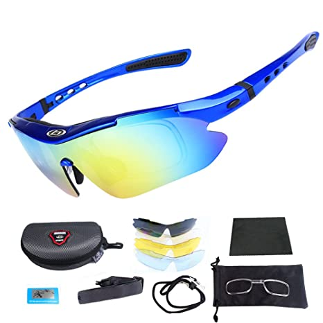 f4dacd2e18d Cycling Glasses - Outdoor Fishing Driving Tennis Cricket Golf Biking  Running Sports Sunglasses with Case and 5 Interchangeable Polarized Lenses  UV 400 ...