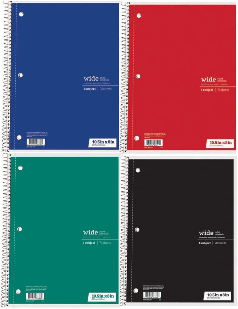 Office Depot Spiral Notebooks Set of 4, 1-Subject, 70 sheets, Wide Ruled Assorted Colors