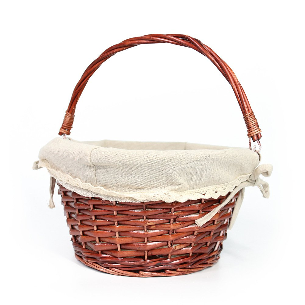 OYPEIP(TM)Father's Day Gift Basket Traditional Fashion Basket Kids Gift Basket Woven Willow Round Wicker Storage Basket With One Drop Down Handle Fabric Cotton Linen For Office, Bedroom, Closet, Toys