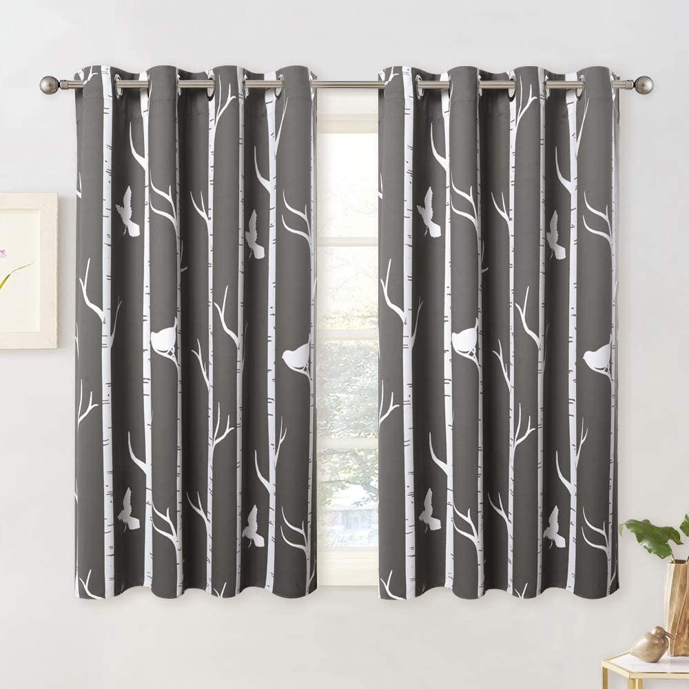 KGORGE Botanical Blackout Curtains - Natural Bird on Tree Printed Draperies Grommet Curtain for Parlor Room Villa Farmhouse Cabin Garden Kids Bedroom Window Decor, 2 Pcs, W 52 x L 45, Toffee-Grey