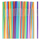 SUMAJU Flexible Drinking Straws, 100 Pcs Extra Long Multicolour Stripes Disposable Bendy Cocktail Party Bar Drinking Straw