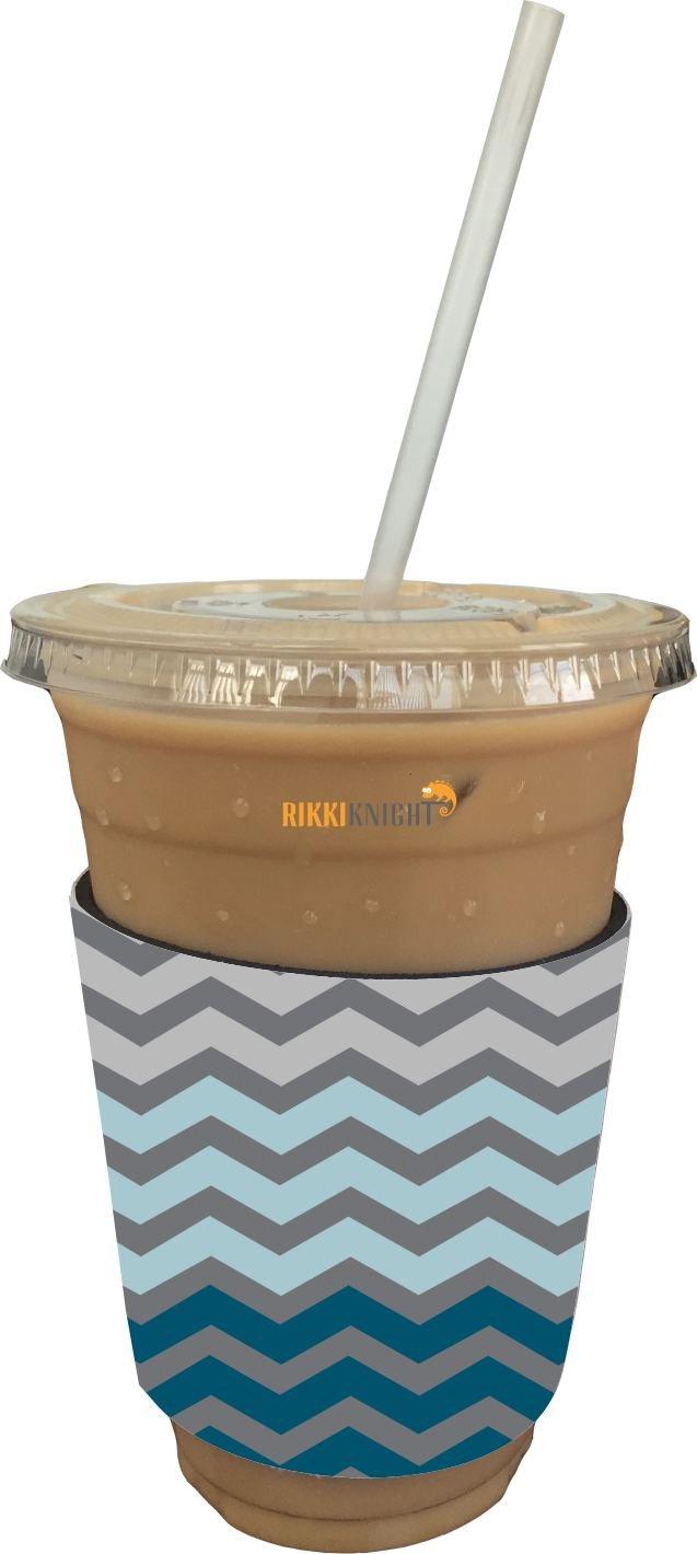 Rikki Caballero Chunky Chevron cielo Azul Zig Zag diseño café con leche y café con hielo enfriador de bebidas funda de neopreno aislante bebidas Huggers ...