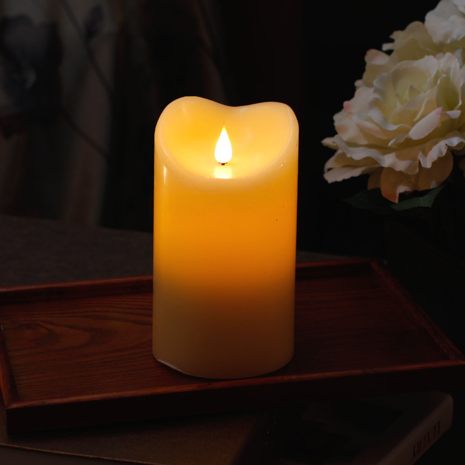 3D Flameless Led Candle with Timer, Moving Wick Pillar Candle for Home Decoration, 3.75x6.5 Inch, Ivory by GiveU