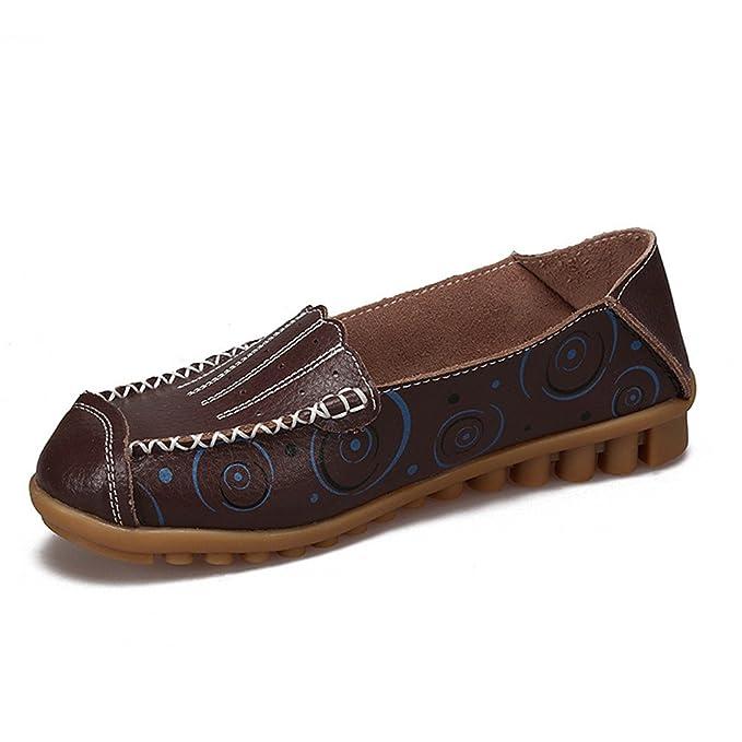 Zapatos de mujer Zapatos de mocasines de madre Zapatos de moda de niña Zapatos casuales Mocasines de cuero genuino Coffee 8: Amazon.es: Ropa y accesorios