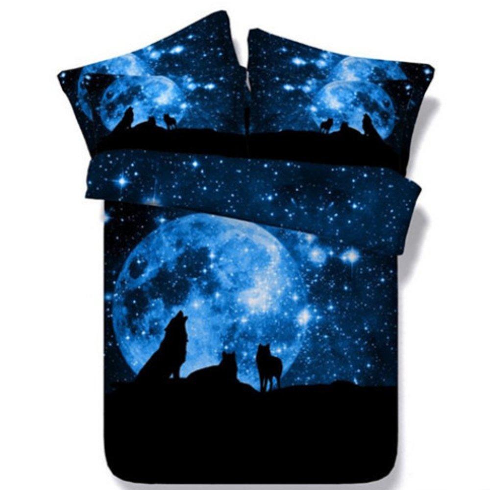 Alicemall 3D Galaxy Wolf Comforter Set Queen Size Dreamlike Moonlight Stars Wolf Prints 5-Piece Black and Blue Nebula Galaxy Quilt Sets (Queen, WolfGalaxy-5PCS)