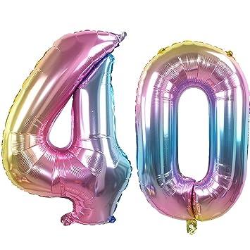 Ouinne Globo 40 Años, 32 Pulgadas Globo del Cumpleaños ...