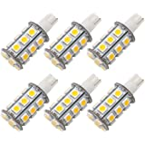GRV T10 921 194 24-5050 SMD LED Bulb lamp Super Bright Warm White DC 12V Pack of 6