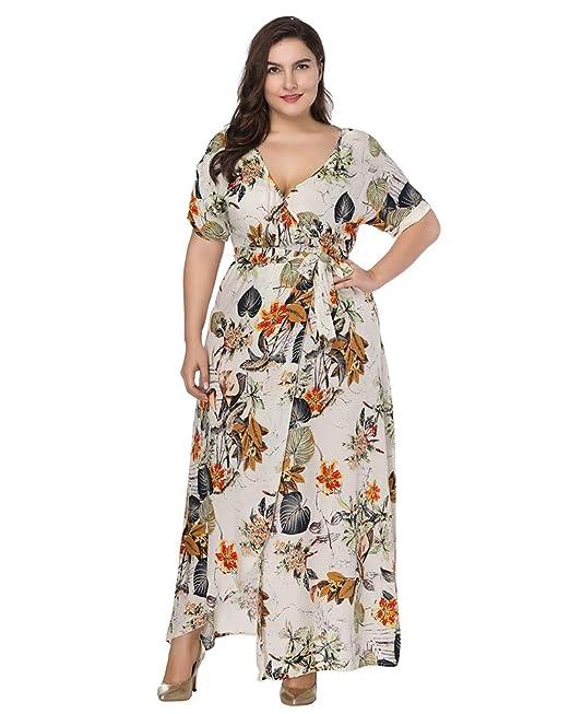Vestidos Mujer Verano Gasa V-Cuello Manga Corta Estampado Floral Largo Vestido de Noche Boho