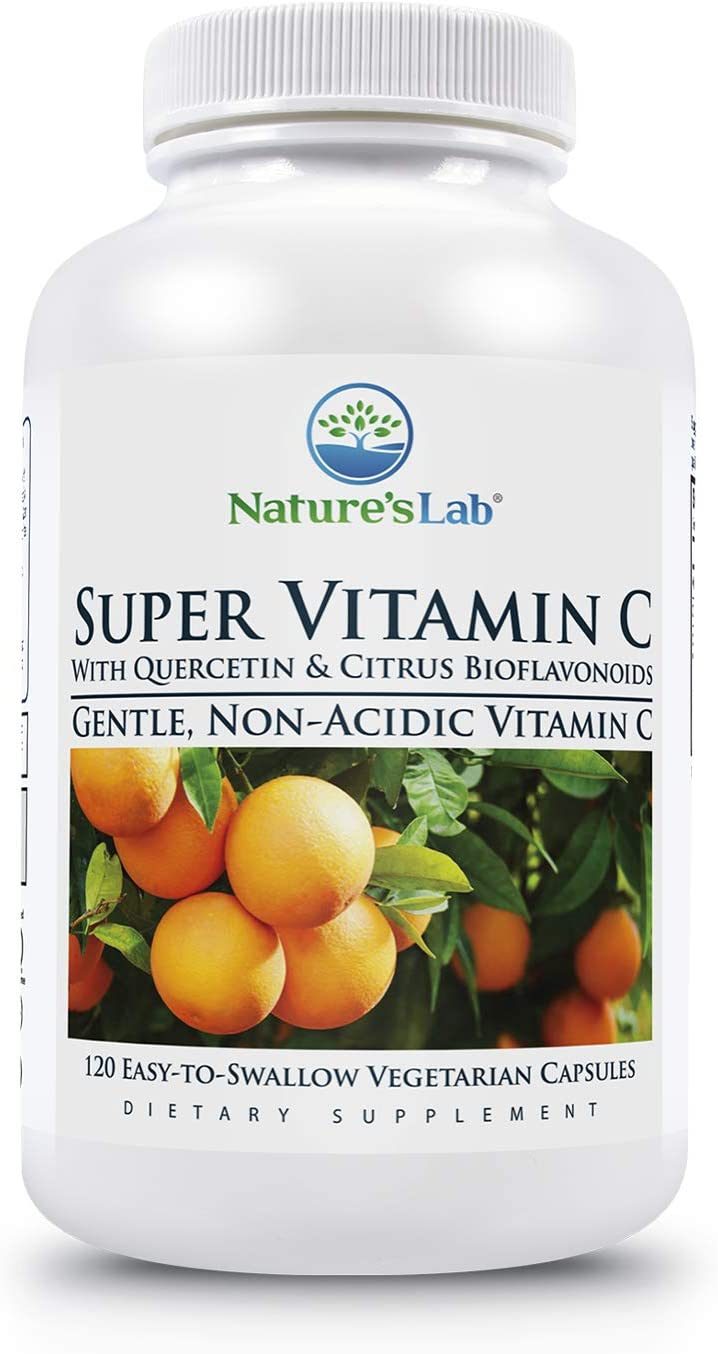 Nature's Lab Super Vitamin C - 1000mg as Calcium Ascorbate - 120 Count (60 Day Supply) Gentle, Non Acidic 200mg Quercetin and 200mg Citrus Bioflavonoids Non GMO, Gluten Free, Lab Tested Made in The US