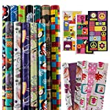 12 Rolls All-Occasion Gift Wrapping Paper Bulk Set Variety Pack Birthday Holiday Pack Bundled With Gift Tags
