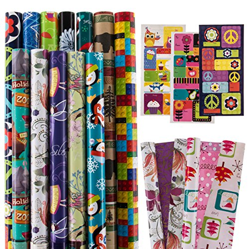 12 Rolls All-Occasion Gift Wrapping Paper Bulk Set Variety Pack Birthday Holiday Pack Bundled With Gift (Holiday Reversible Gift Wrap)