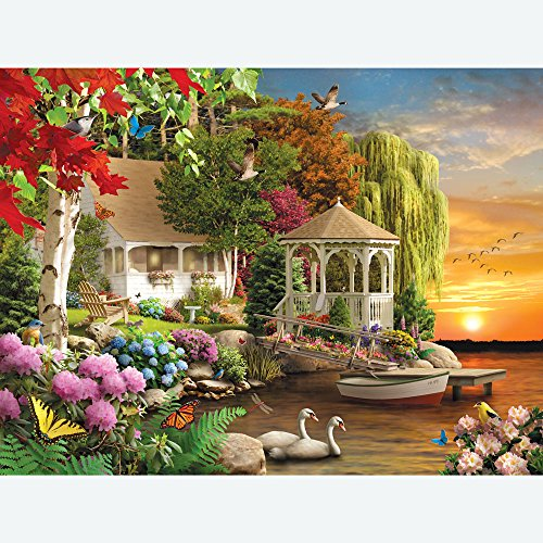 Bits and Pieces - 300 Large Piece Jigsaw Puzzle for Adults - Heaven on Earth - 300 pc Spring Sunset Jigsaw by Artist Alan Giana