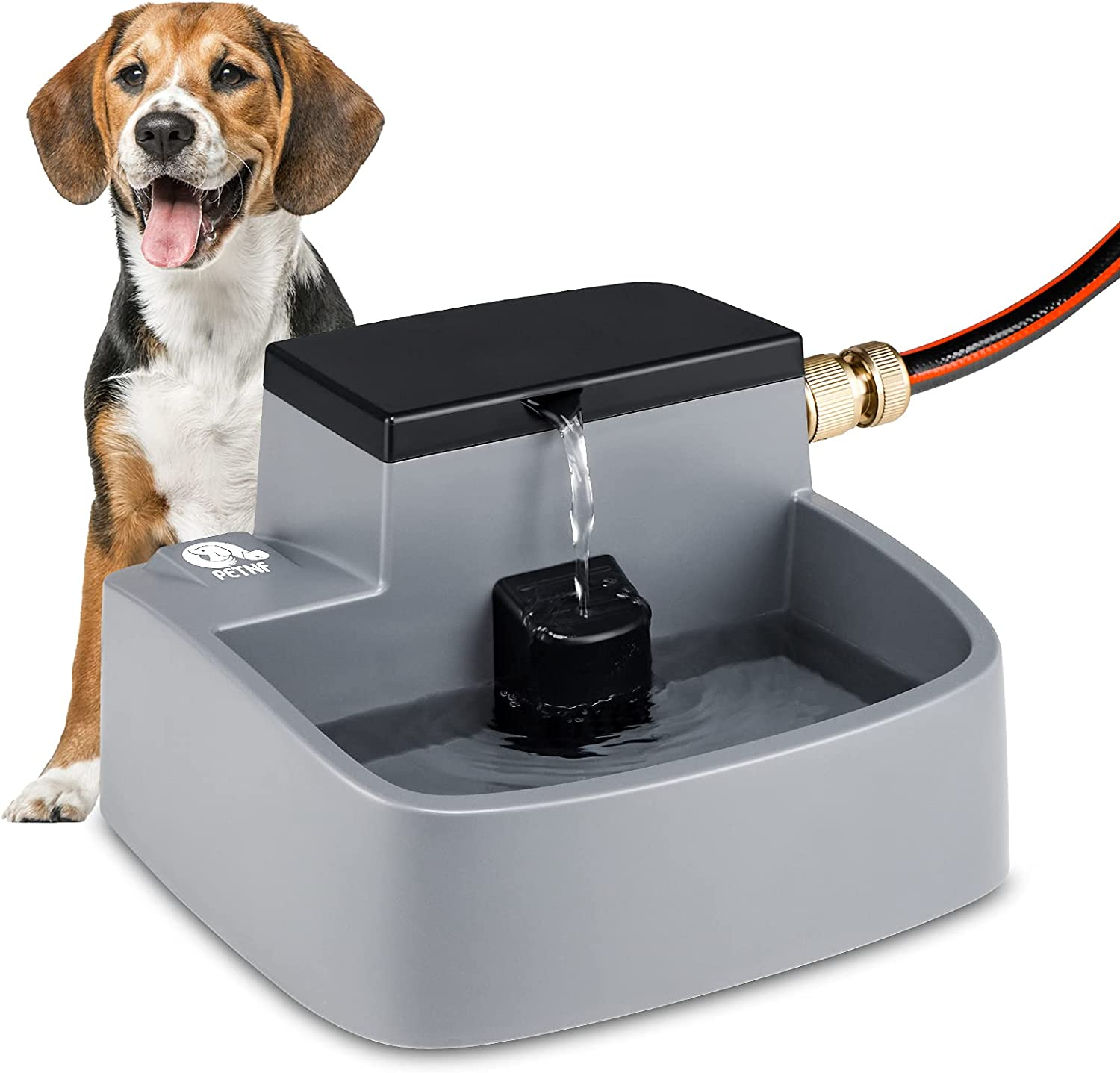 Dog Water Fountain, 2021 Newest Auto Refill Pet Water Fountain 2 in 1 Automatic Dog waterer Water Bowl Dispenser Outdoor Indoor, 52OZ Pet Drinking Fountains for Dogs Cats Rabbits Multiple Pets Animals