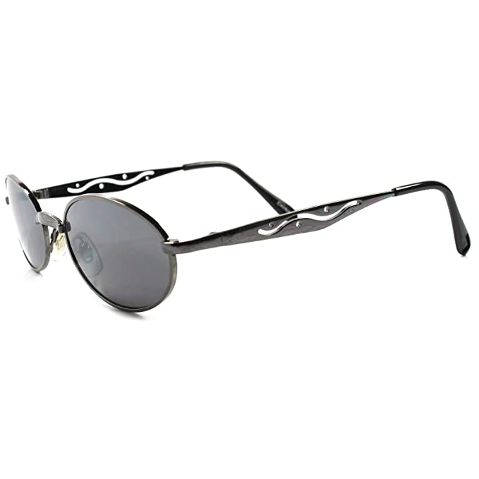 0cf7f821efd7 Image Unavailable. Image not available for. Color  Vintage 80s 90s Mens  Womens Indie Hip Style Gunmetal Round Oval Sunglasses