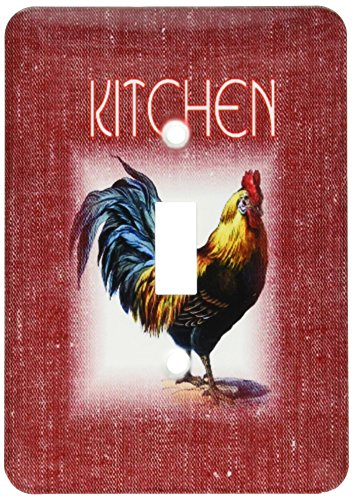 Red Rooster Chips - 3dRose lsp_163397_1 Image of Rooster on Red Denim and Word Kitchen Light Switch Cover