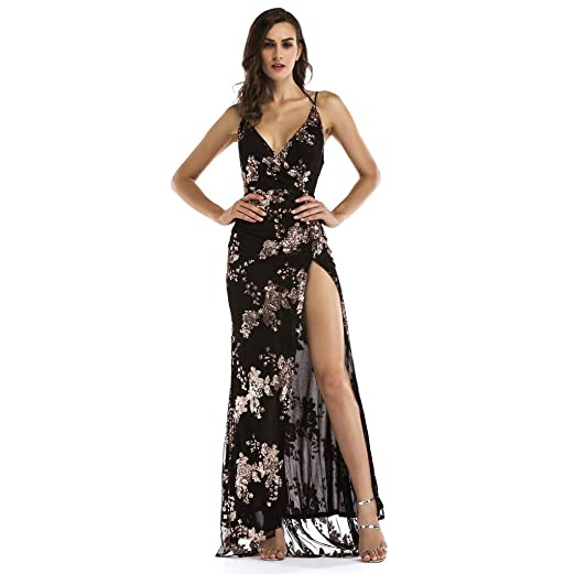 4042ad22cb3fd Amazon.com: Sexy Women Long High Split Cocktail Prom Gown Dress Deep V Neck  Halter Floral Lace Vintage Maxi Sequin Backless Dress: Clothing